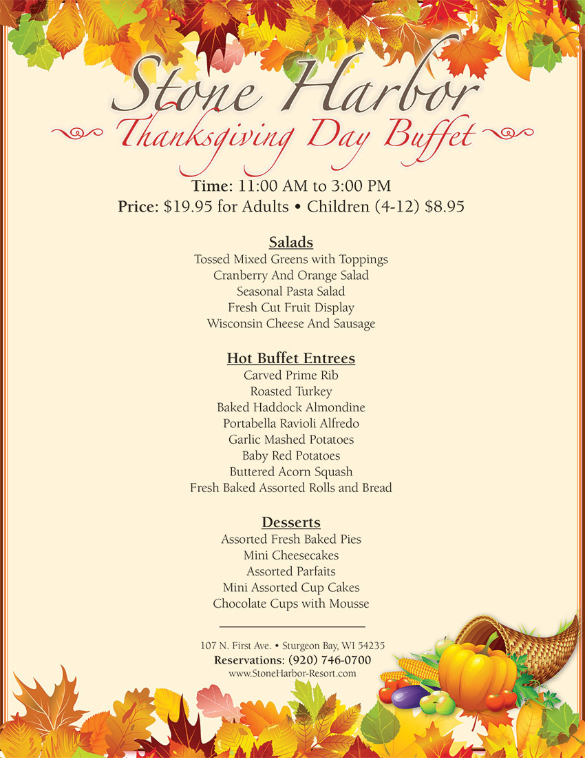 Thanksgiving Dinner 2019 Restaurants  Thanksgiving Day Buffet Stone Harbor Resort
