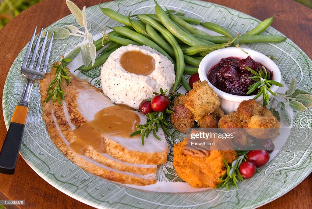 Thanksgiving Dinner Plate  Christmas Thanksgiving Roast Turkey Dinner Plate Stock