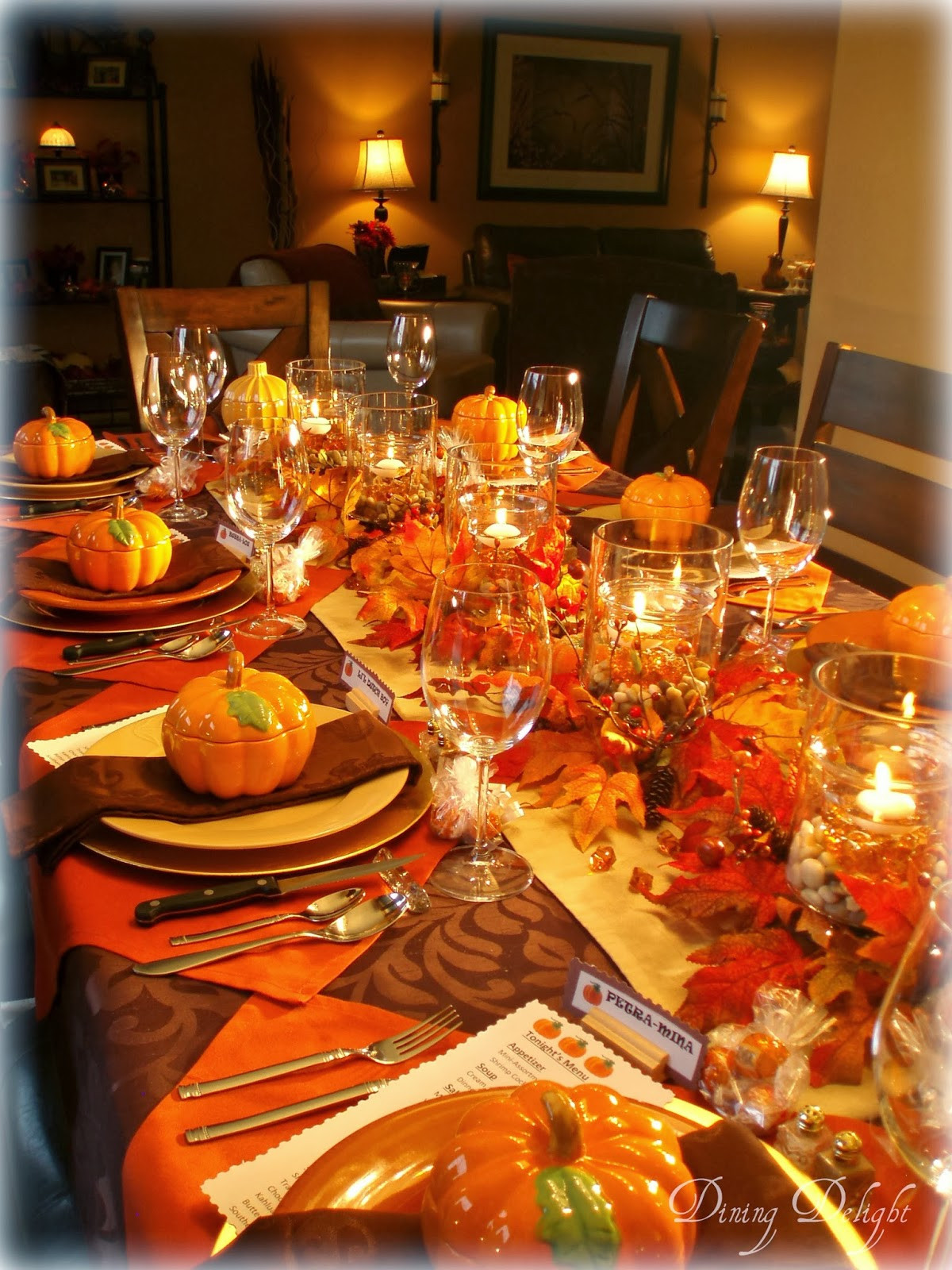 Thanksgiving Dinner Table Decorations  Dining Delight Fall Dinner Party for Ten