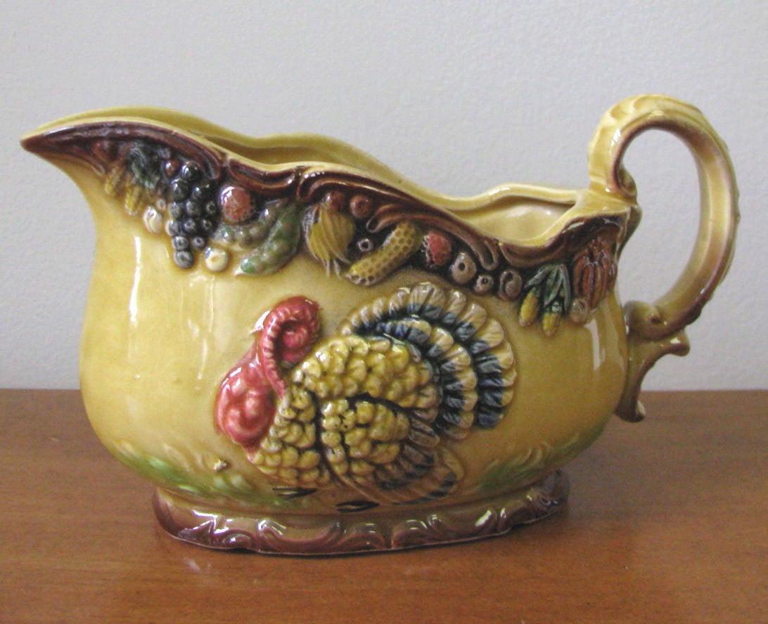 Thanksgiving Gravy Boat  Vintage 1950 s Ceramic Gravy Boat with Turkey Motif