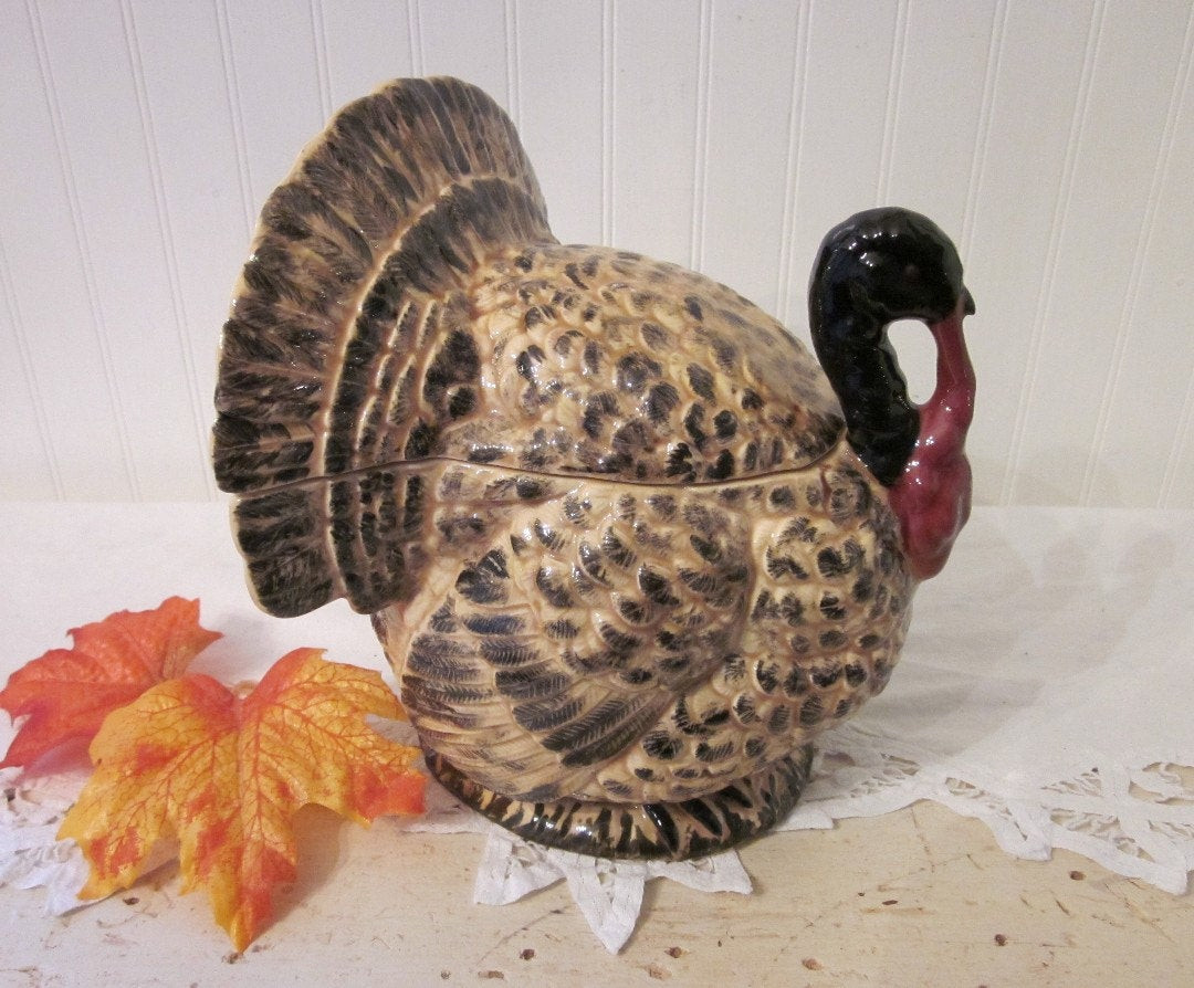 Thanksgiving Gravy Boat  vintage Turkey Gravy Boat Tureen Thanksgiving harvest table