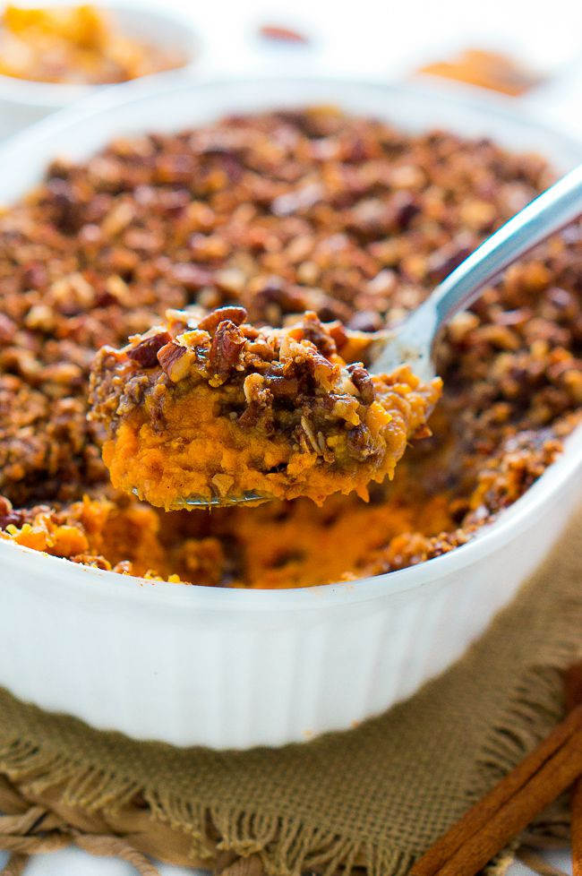 Thanksgiving Sweet Potato Recipes  Healthy Sweet Potato Casserole with Pecan Topping