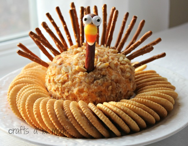 Thanksgiving Themed Appetizers  Thanksgiving Turkey Cheese Ball Crafts a la mode
