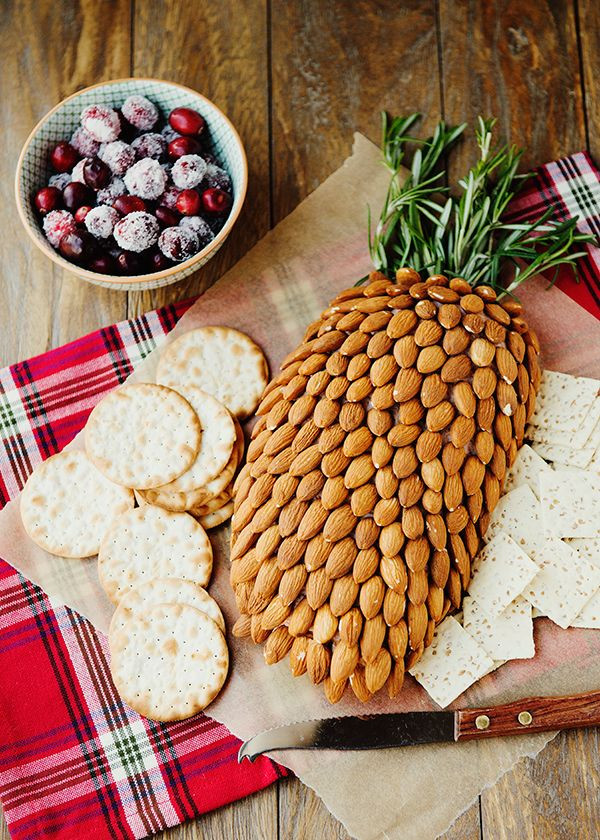 Thanksgiving Themed Appetizers  Almond Cheddar Pinecone Recipe