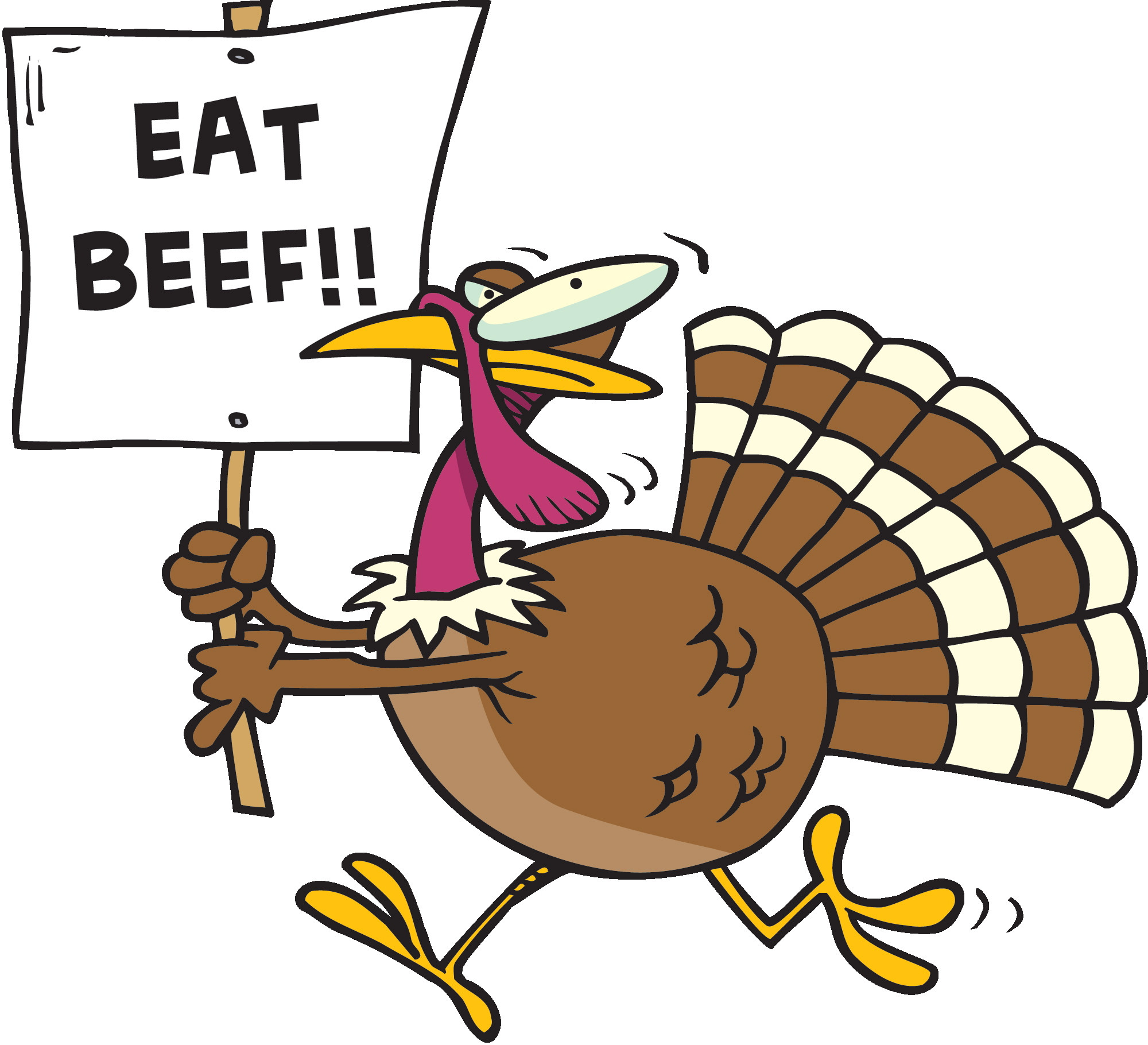 Thanksgiving Turkey Funny  Eat Beef Funny Turkey Clipart Image