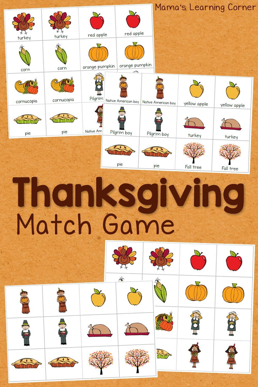 Thanksgiving Turkey Games  Thanksgiving Match Game Mamas Learning Corner