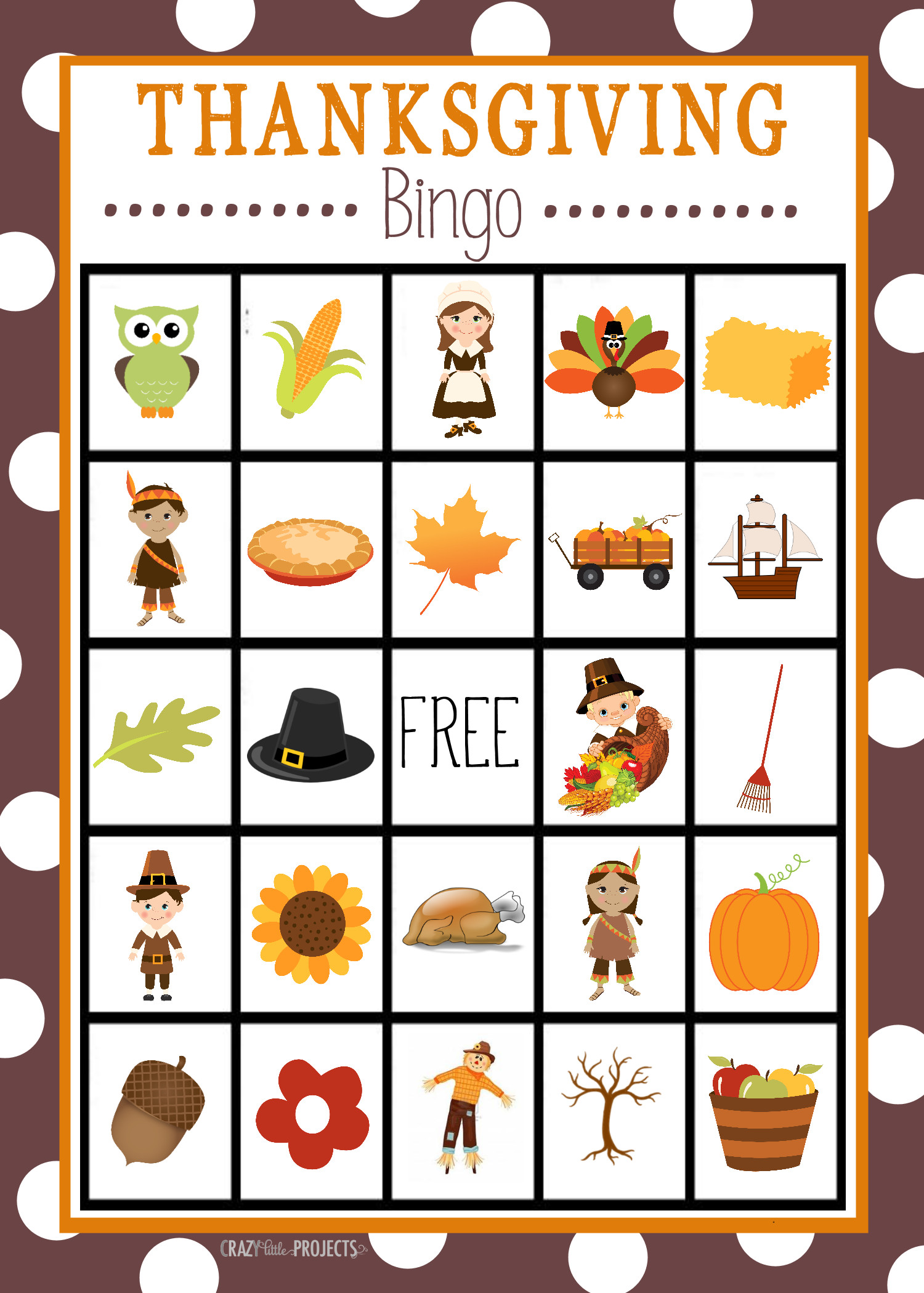 Thanksgiving Turkey Games  Free Printable Thanksgiving Bingo Game Crazy Little Projects