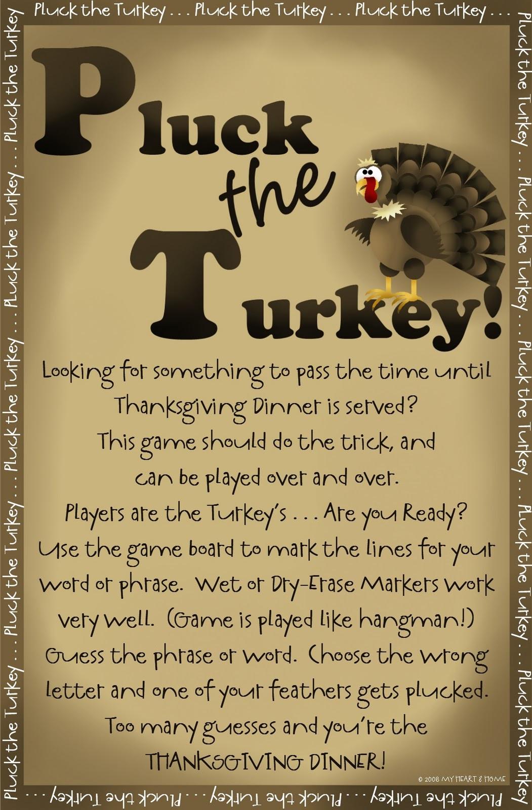 Thanksgiving Turkey Games  Prepared NOT Scared PLUCK The Turkey