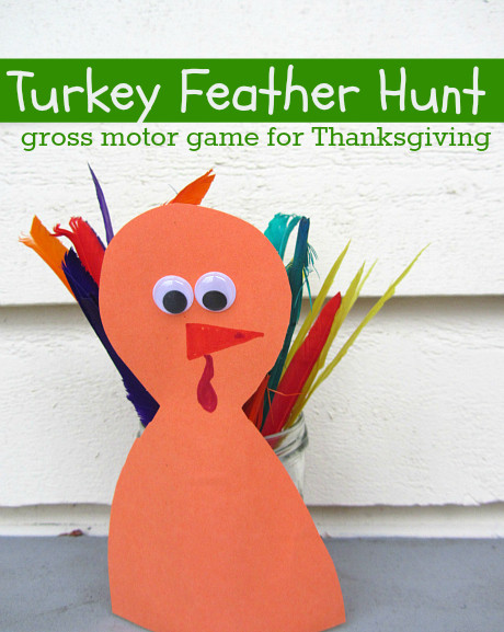 Thanksgiving Turkey Games  Turkey Feather Hunt Gross Motor Game For Thanksgiving