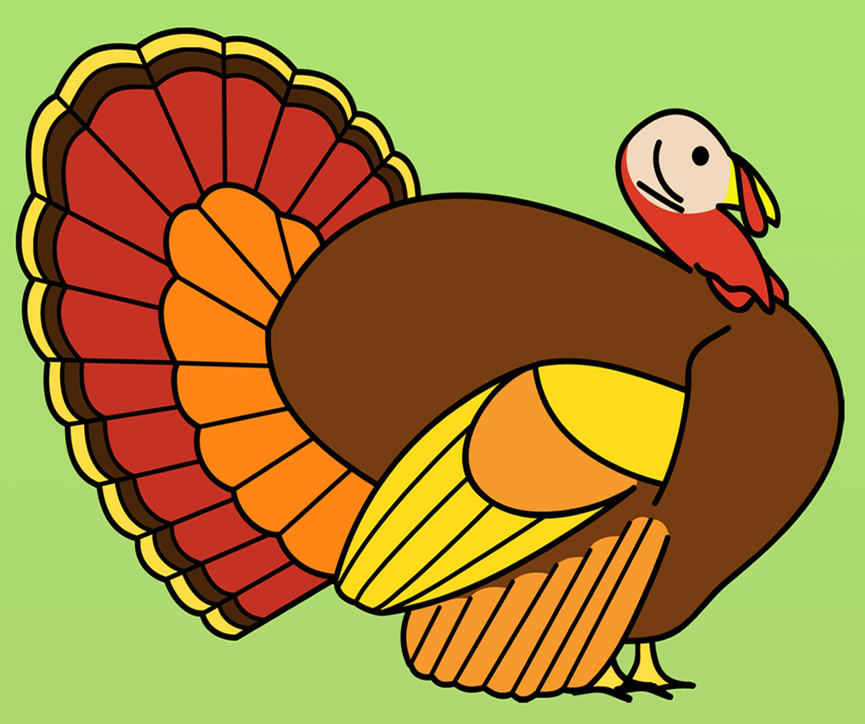 Thanksgiving Turkey Graphic  Clip Art Turkey Dinner B&W Thanksgiving Holiday