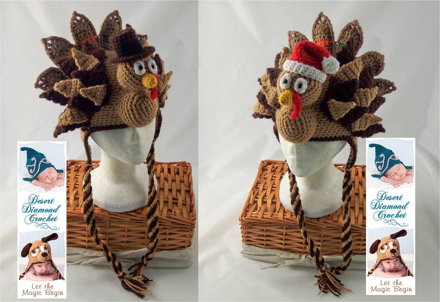 Thanksgiving Turkey Hat  Crochet Pattern 073 Holidurkey Turkey Hat All Sizes