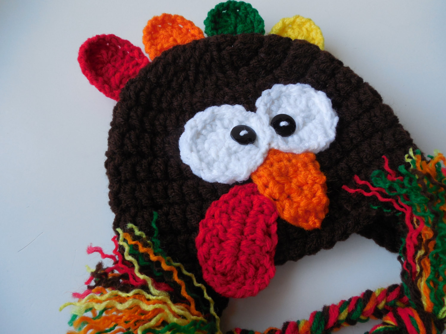 Thanksgiving Turkey Hat  Turkey Hat Earflap Turkey Hat Handmade Crochet Adult