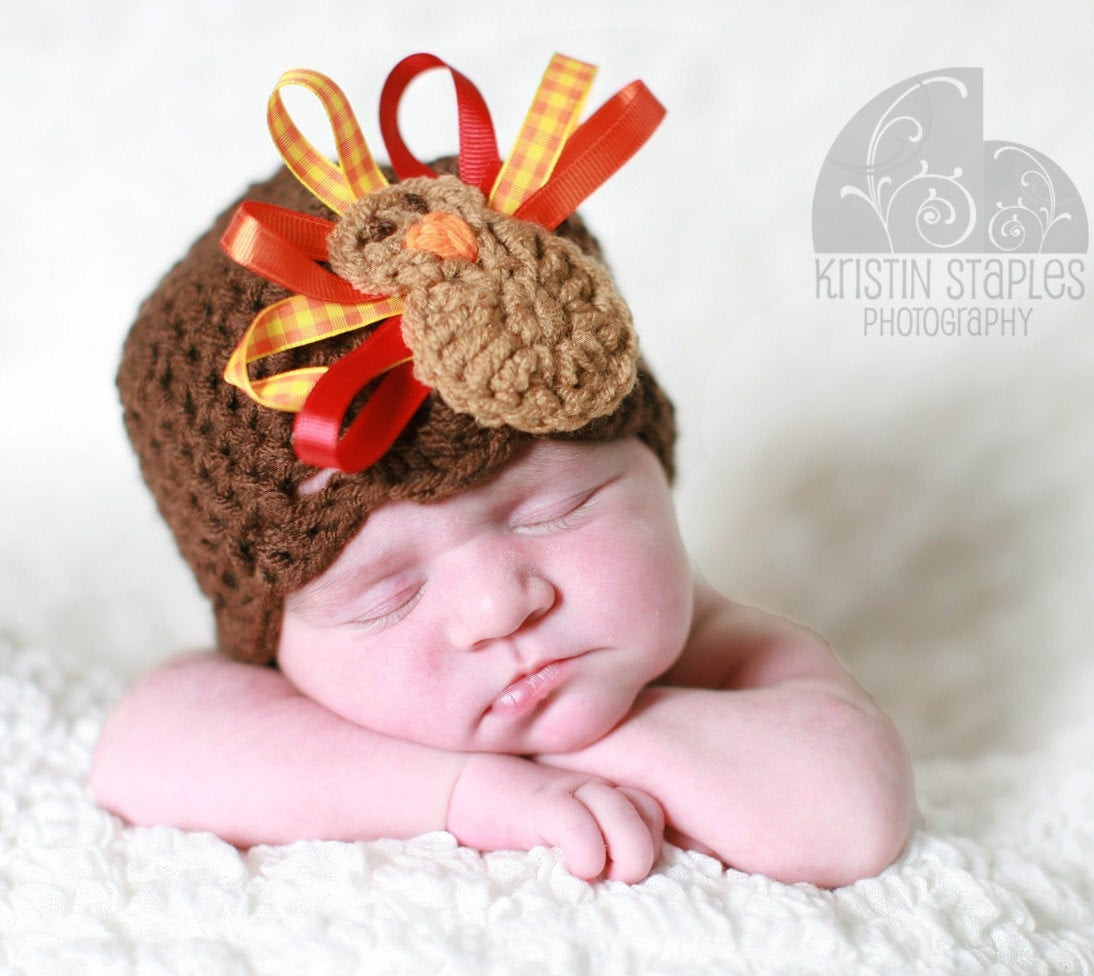 Thanksgiving Turkey Hat  Crochet Turkey Hat Thanksgiving Beanie with Ribbon Feathers