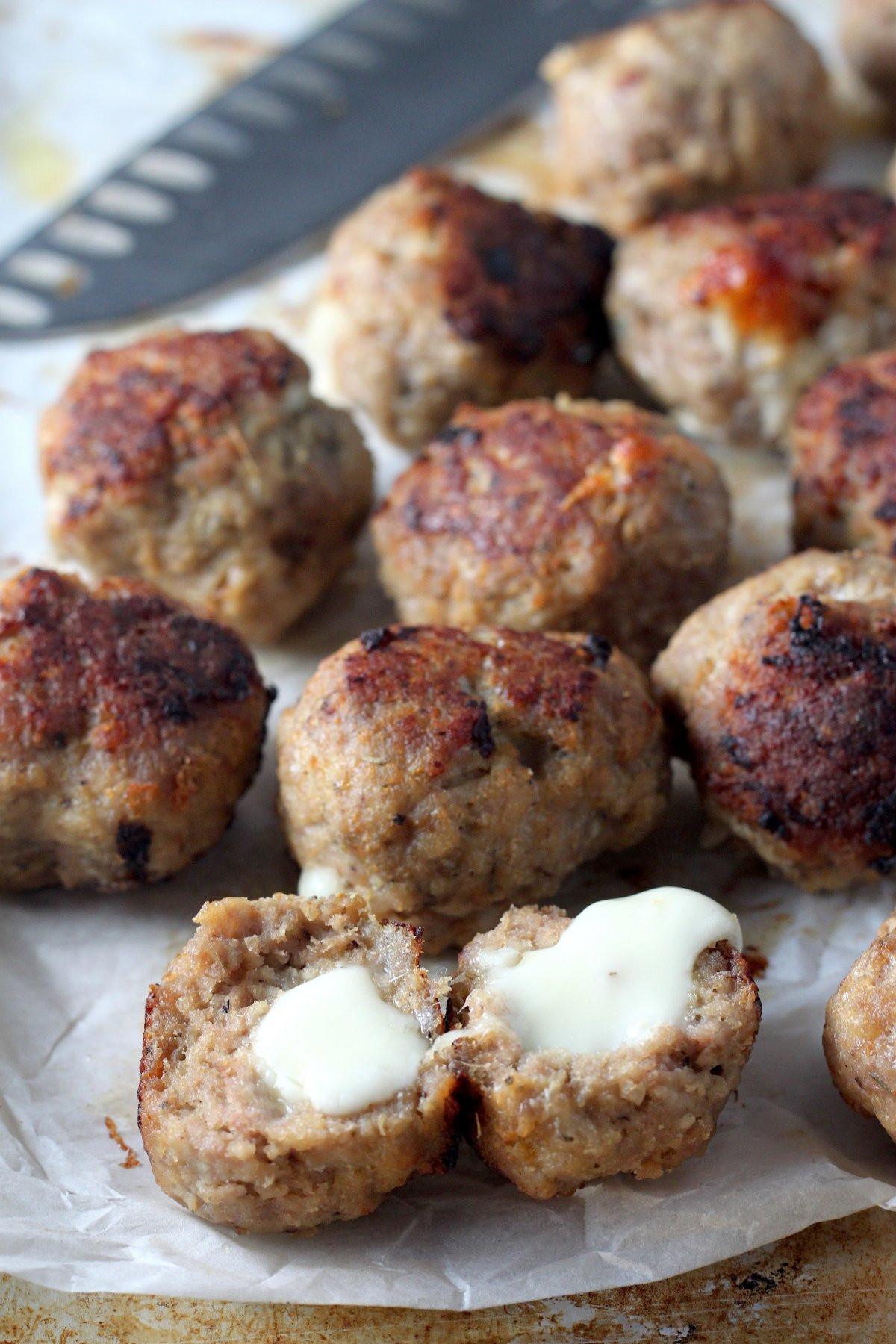 Thanksgiving Turkey Meatballs  30 Minute Mozzarella Stuffed Turkey Meatballs with