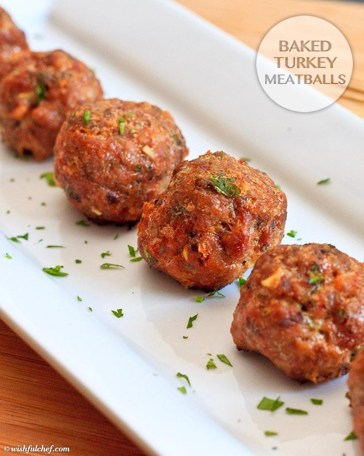 Thanksgiving Turkey Meatballs  Baked Turkey Meatballs Wishful Chef