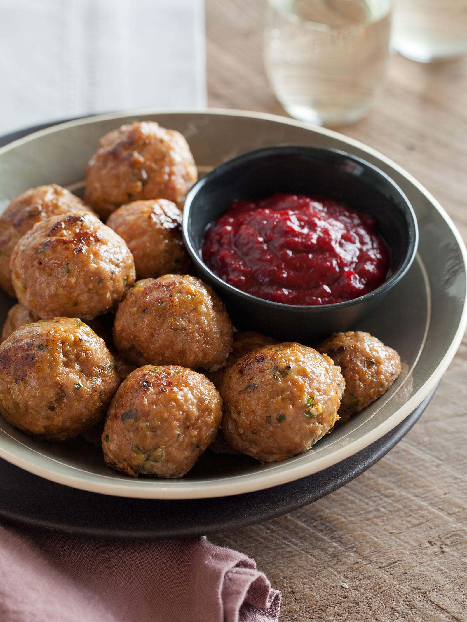 Thanksgiving Turkey Meatballs  Herbed Turkey Meatballs and Cranberry Barbeque Sauce recipe