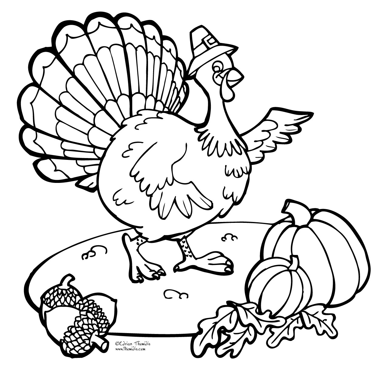 Thanksgiving Turkey Pictures To Color  ThanksGiving Coloring Pages Free Printable