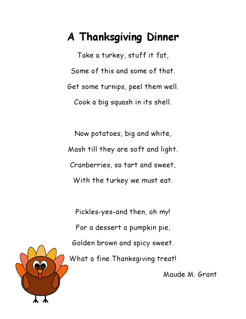 Thanksgiving Turkey Poem  Literacy Minute Turkey Poems for Thanksgiving