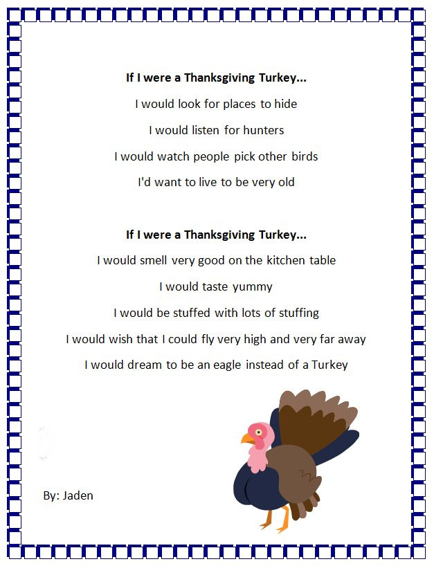 Thanksgiving Turkey Poem  Thanksgiving Turkey Personification Poem Generator