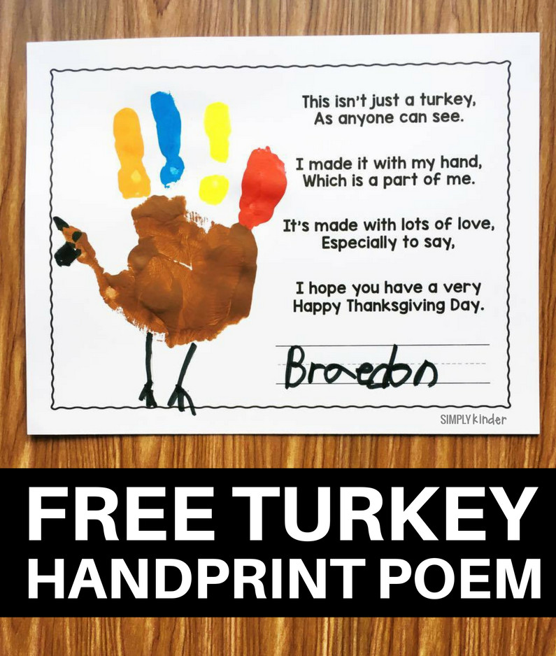 Thanksgiving Turkey Poem  Free Turkey Handprint Poem Simply Kinder