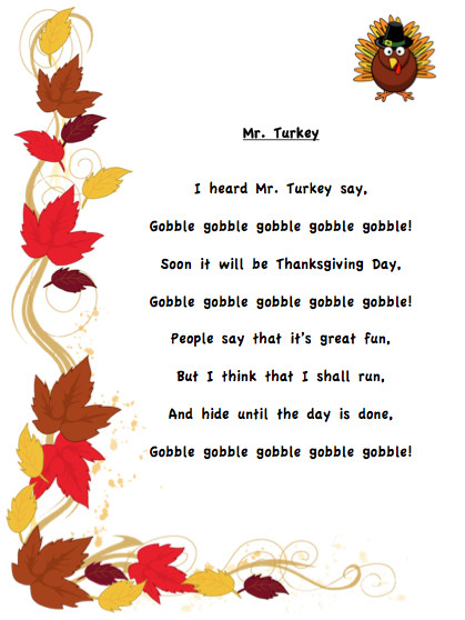 Thanksgiving Turkey Poem  I almost forgot Thanksgiving eh