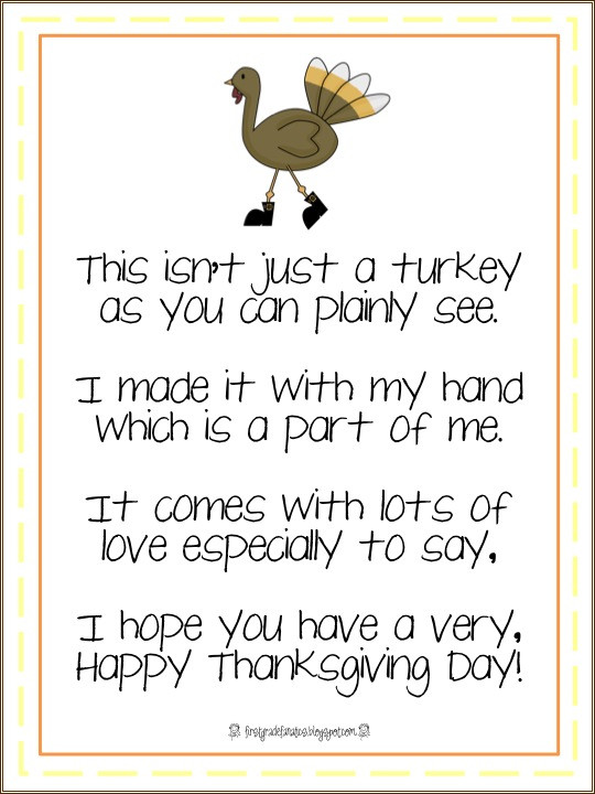 Thanksgiving Turkey Poem  First Grade Fanatics Gobble Gobble