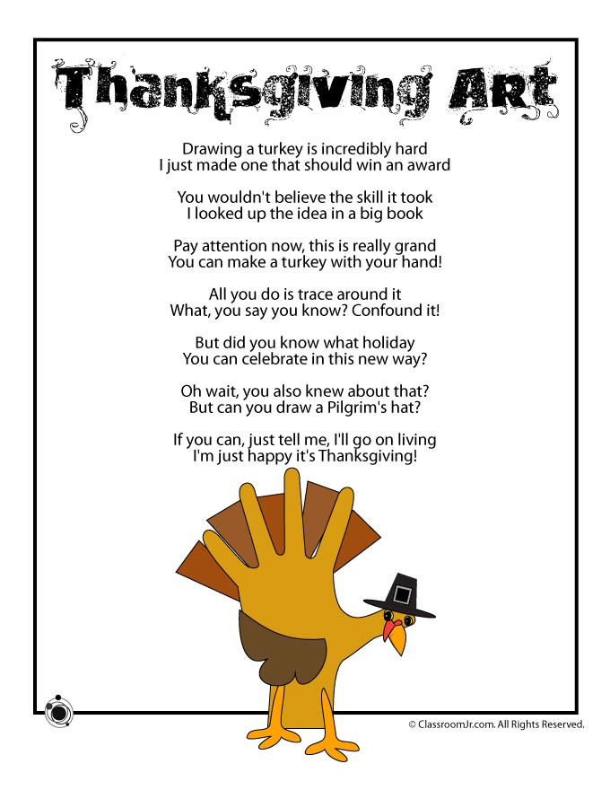 Thanksgiving Turkey Poem  Thanksgiving Kids Poems Woo Jr Kids Activities