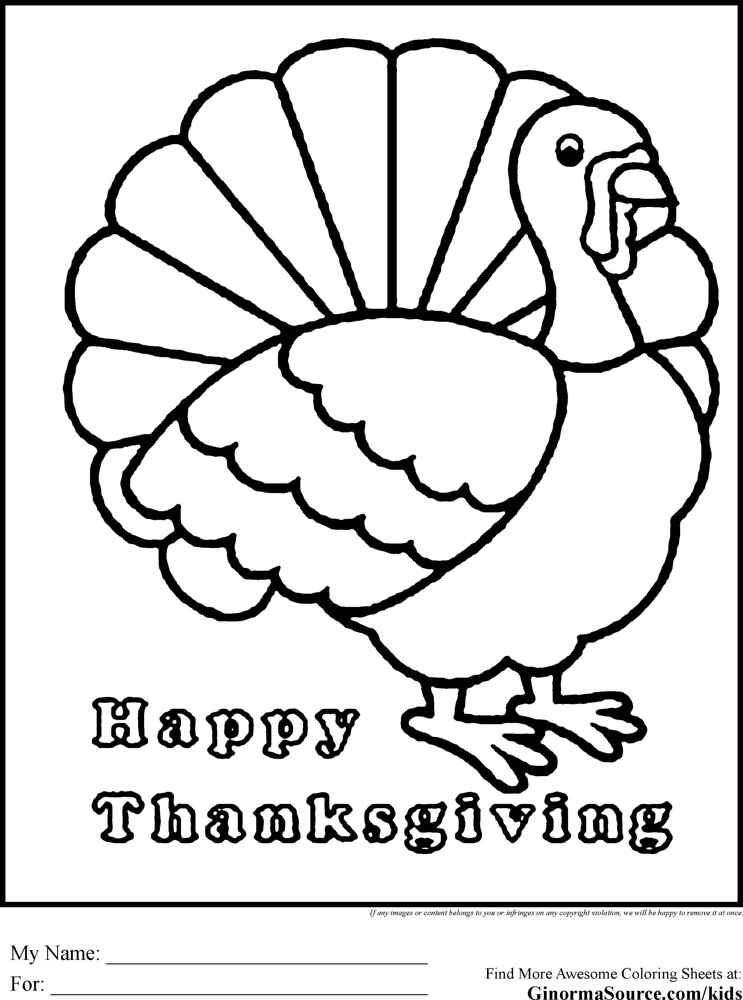 Thanksgiving Turkey To Color  Coloring Page A Turkey For Preschool Coloring Home
