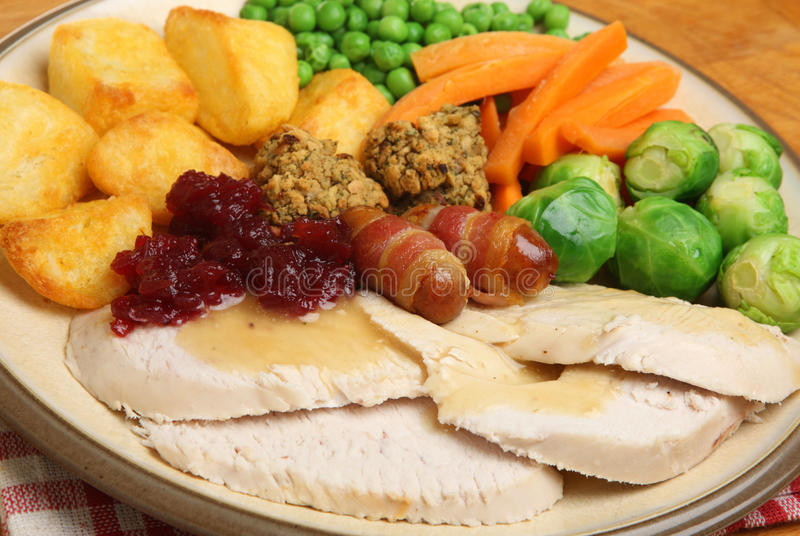 Traditional British Christmas Dinner  Roast Turkey Christmas Dinner Stock Image Image of