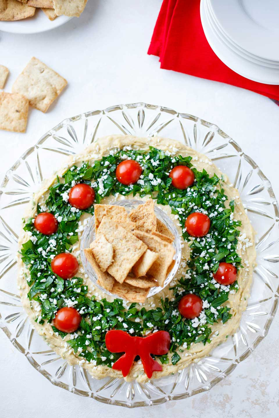 """Traditional Christmas Appetizers  Easy Christmas Appetizer """"Hummus Wreath"""" Two Healthy"""