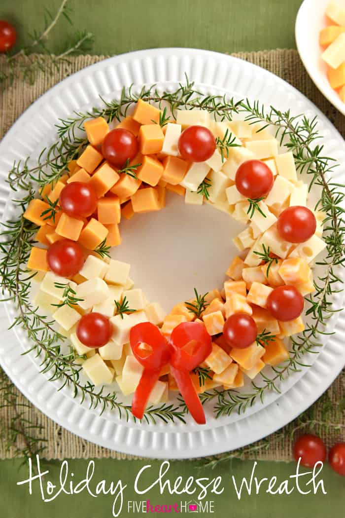 Traditional Christmas Appetizers  Holiday Cheese Wreath • FIVEheartHOME