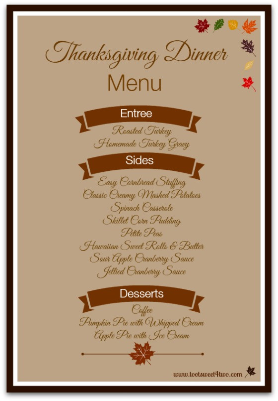 Traditional Thanksgiving Dinner Menu  42 Items for Your Thanksgiving Dinner Shopping List Toot