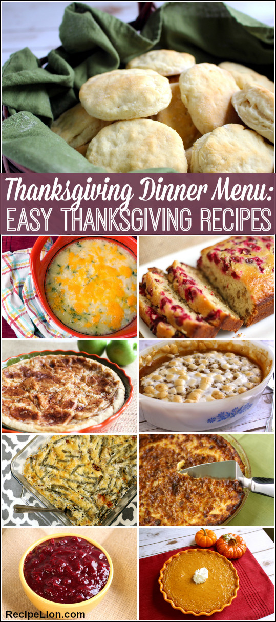 Traditional Thanksgiving Dinner Menu  Thanksgiving Dinner Menu 22 Easy Thanksgiving Recipes