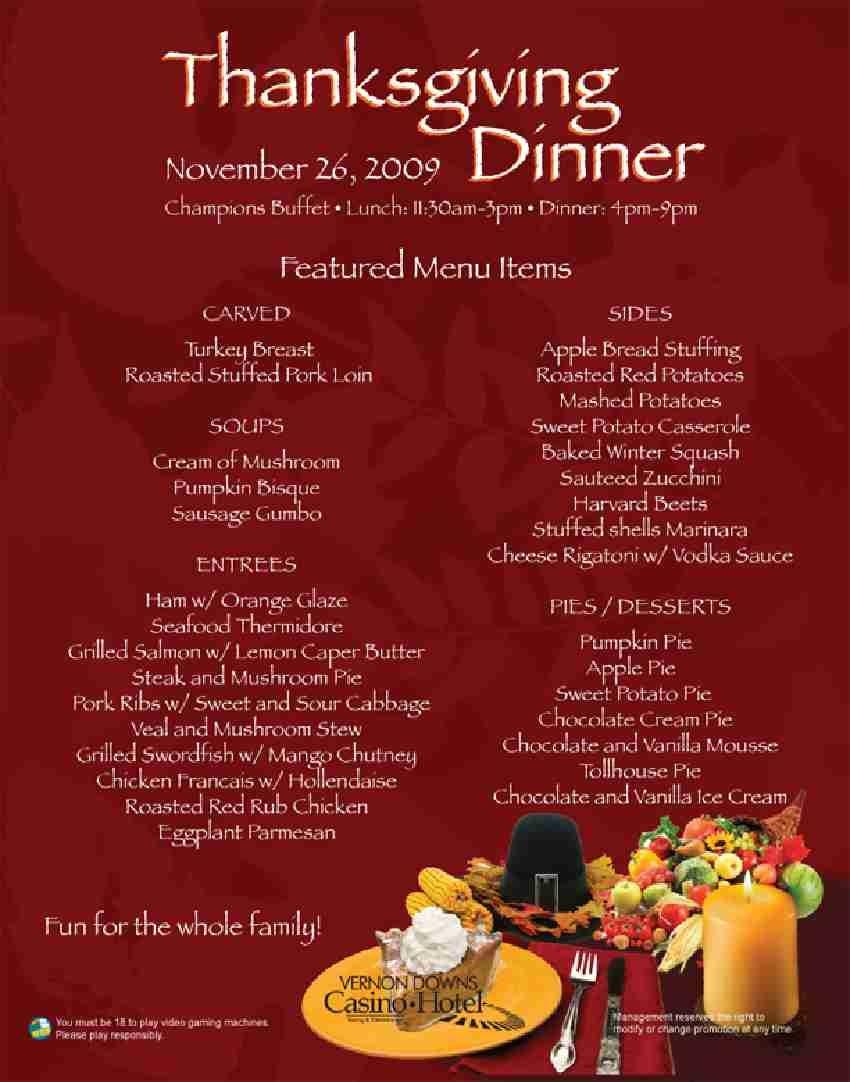 Traditional Thanksgiving Dinner Menu  Vernon Downs Casino Hotel & Racing News November 2009