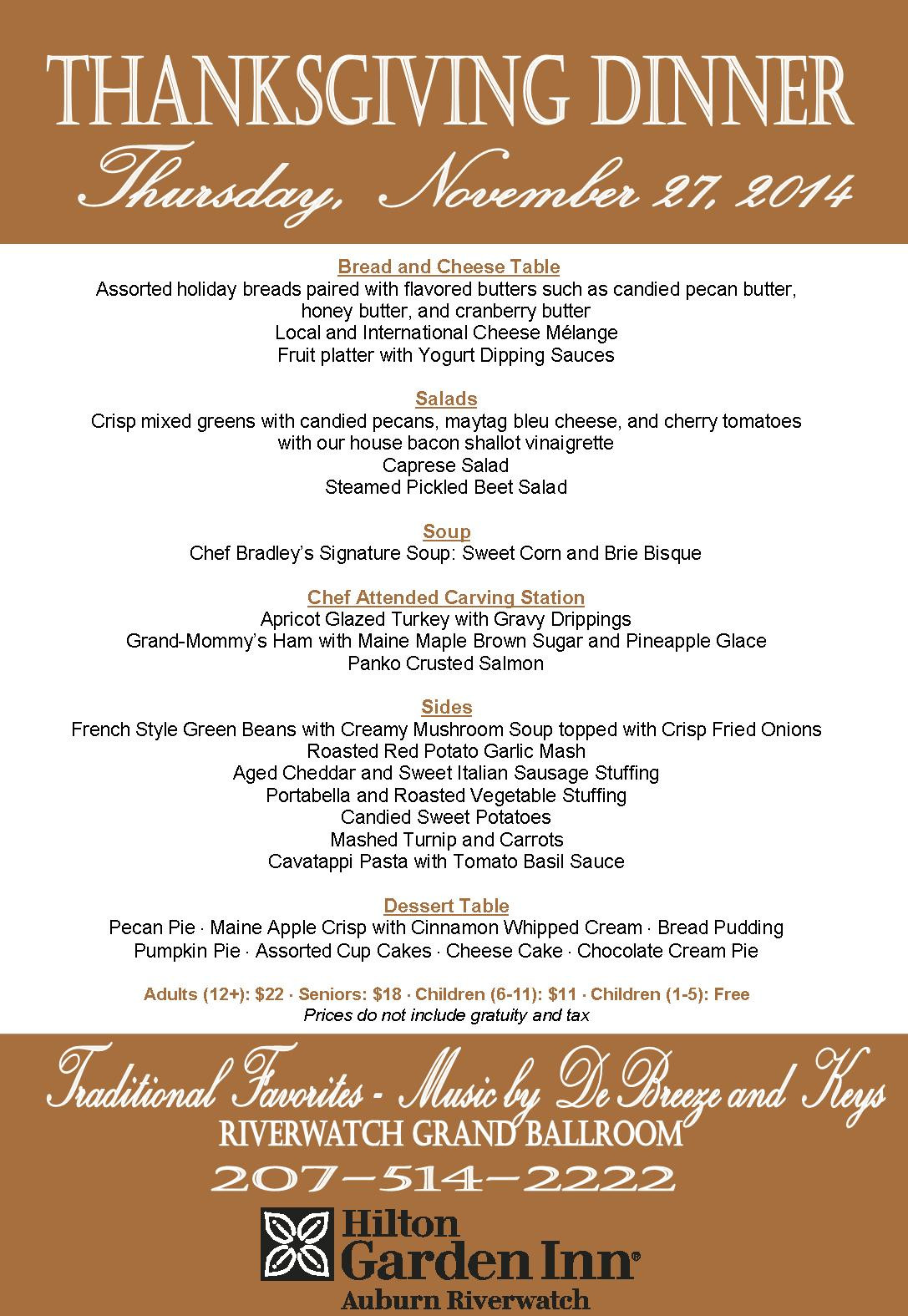 Traditional Thanksgiving Dinner Menu  Traditional Thanksgiving Dinner Buffet – Hilton Garden Inn