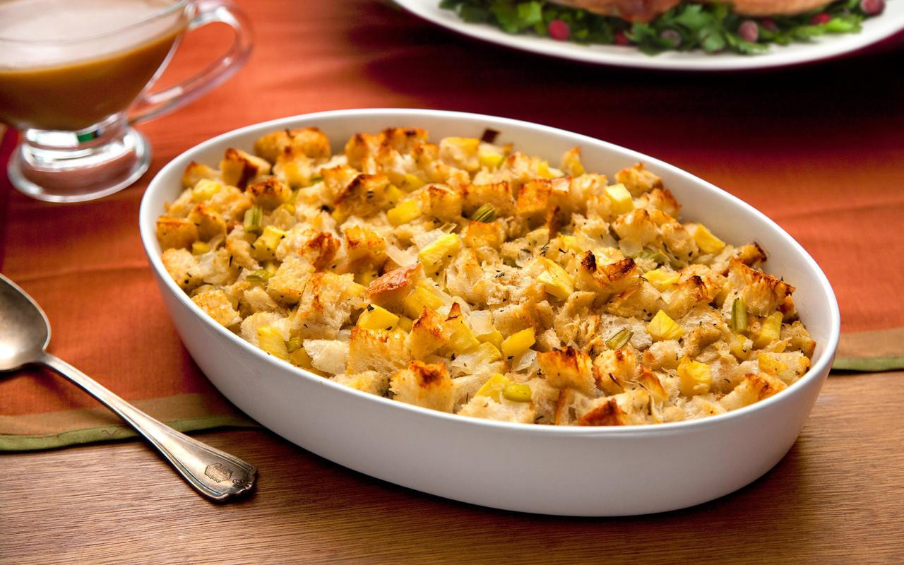 Traditional Thanksgiving Turkey Recipe  Thanksgiving Stuffing with Apples and Sage Recipe Chowhound
