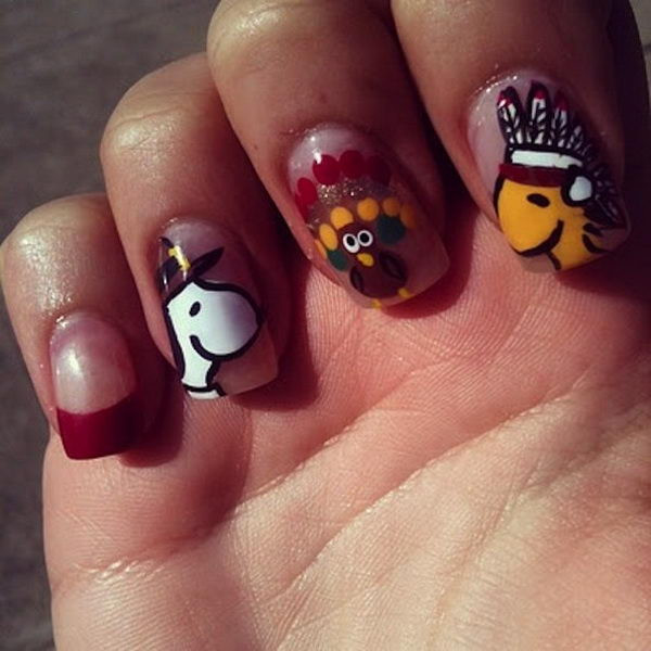 Turkey Designs For Thanksgiving  30 Cool Thanksgiving and Fall Nail Designs Hative
