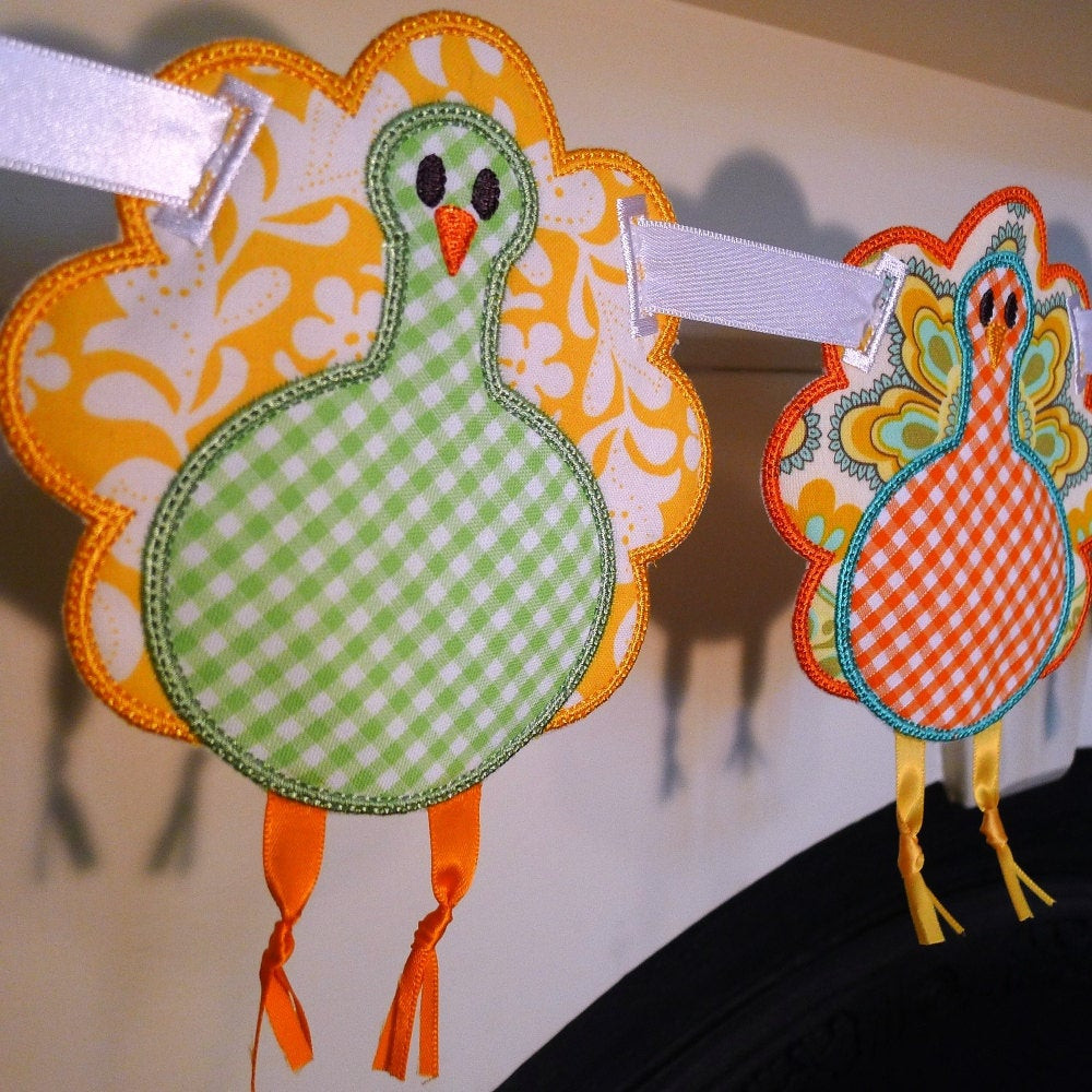 Turkey Designs For Thanksgiving  Turkey Applique In The Hoop Banner Machine Embroidery Design