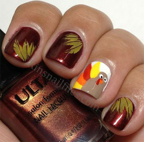 Turkey Designs For Thanksgiving  18 Thanksgiving Nail Art Ideas