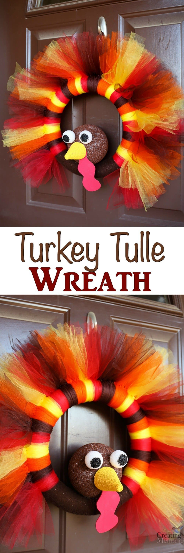 Turkey Designs For Thanksgiving  DIY Turkey Tulle Wreath Best Thanksgiving Wreath for your door