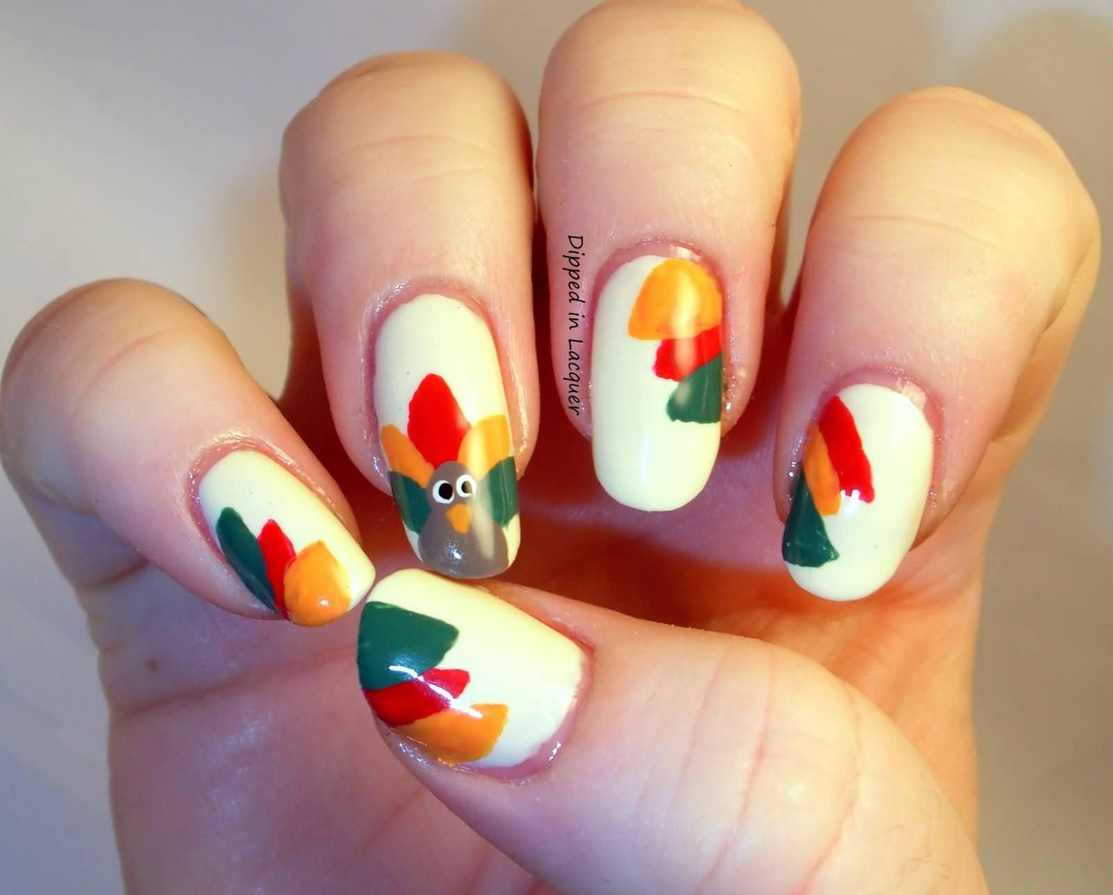 Turkey Designs For Thanksgiving  25 Latest Thanksgiving Nail Art Designs