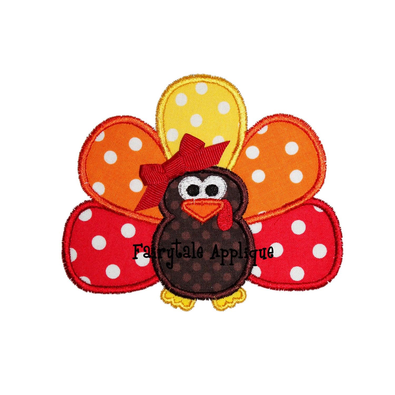 Turkey Designs For Thanksgiving  Digital Machine Embroidery Design Turkey 2 Applique