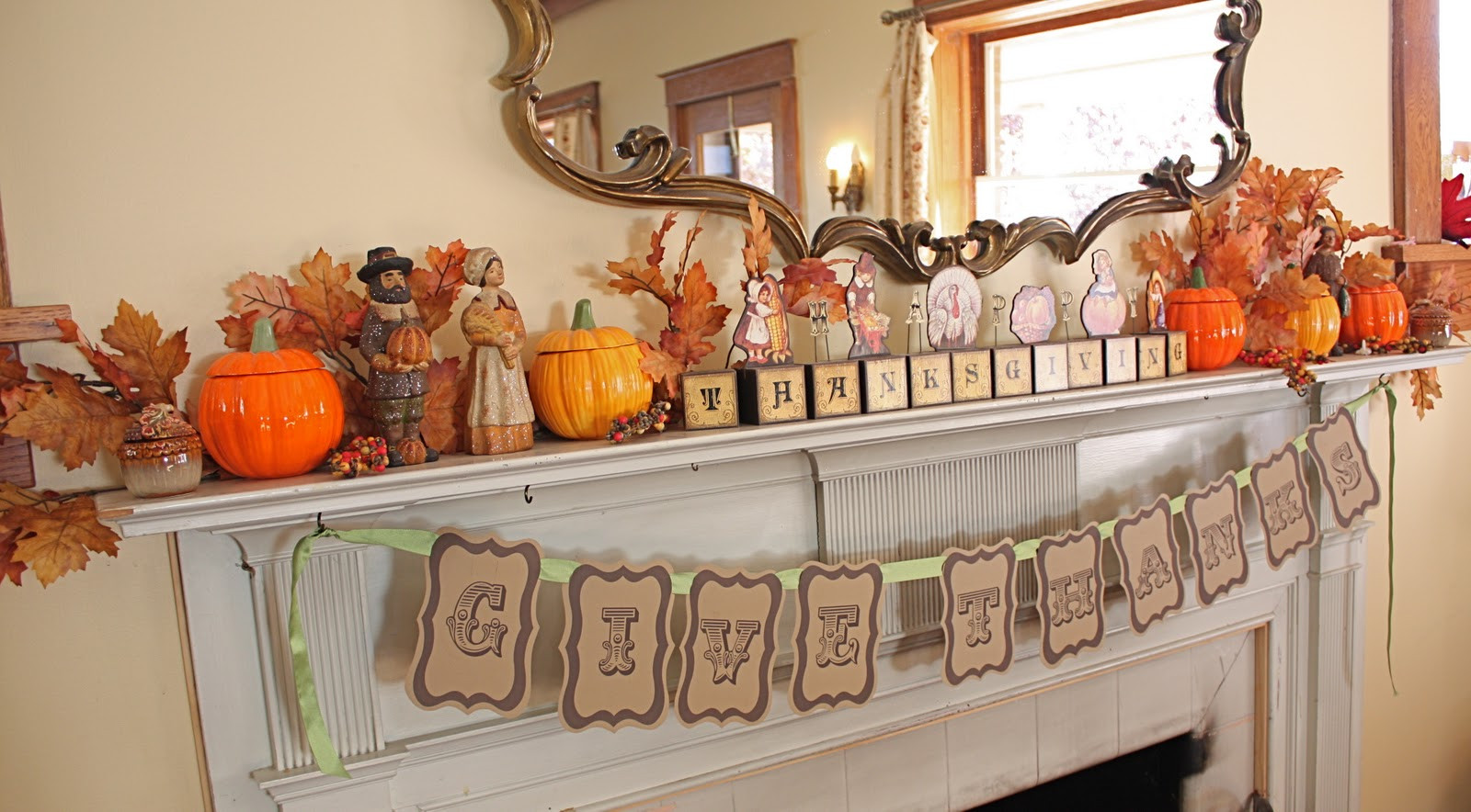 Turkey Designs For Thanksgiving  At Second Street Thanksgiving mantel and other decor
