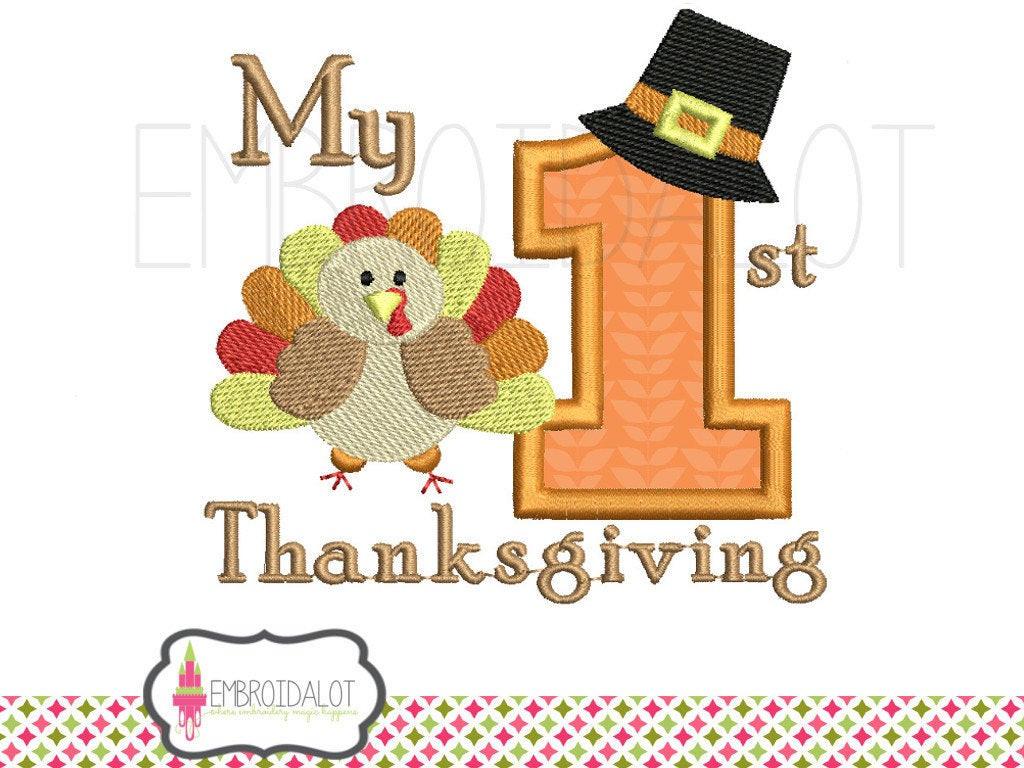 Turkey Designs For Thanksgiving  First thanksgiving machine embroidery design Thanksgiving