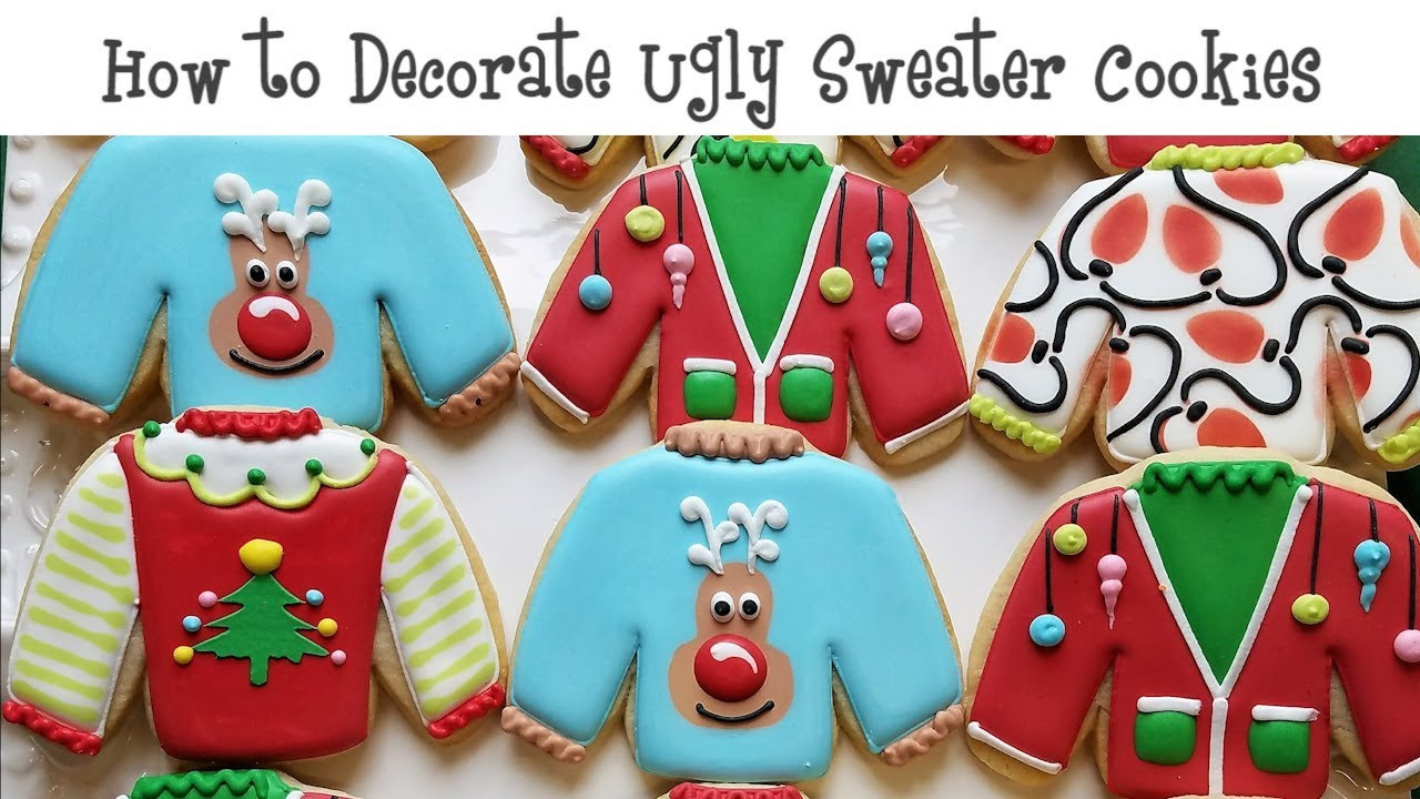 Ugly Christmas Sweater Cookies  How to Decorate Ugly Sweater Cookies
