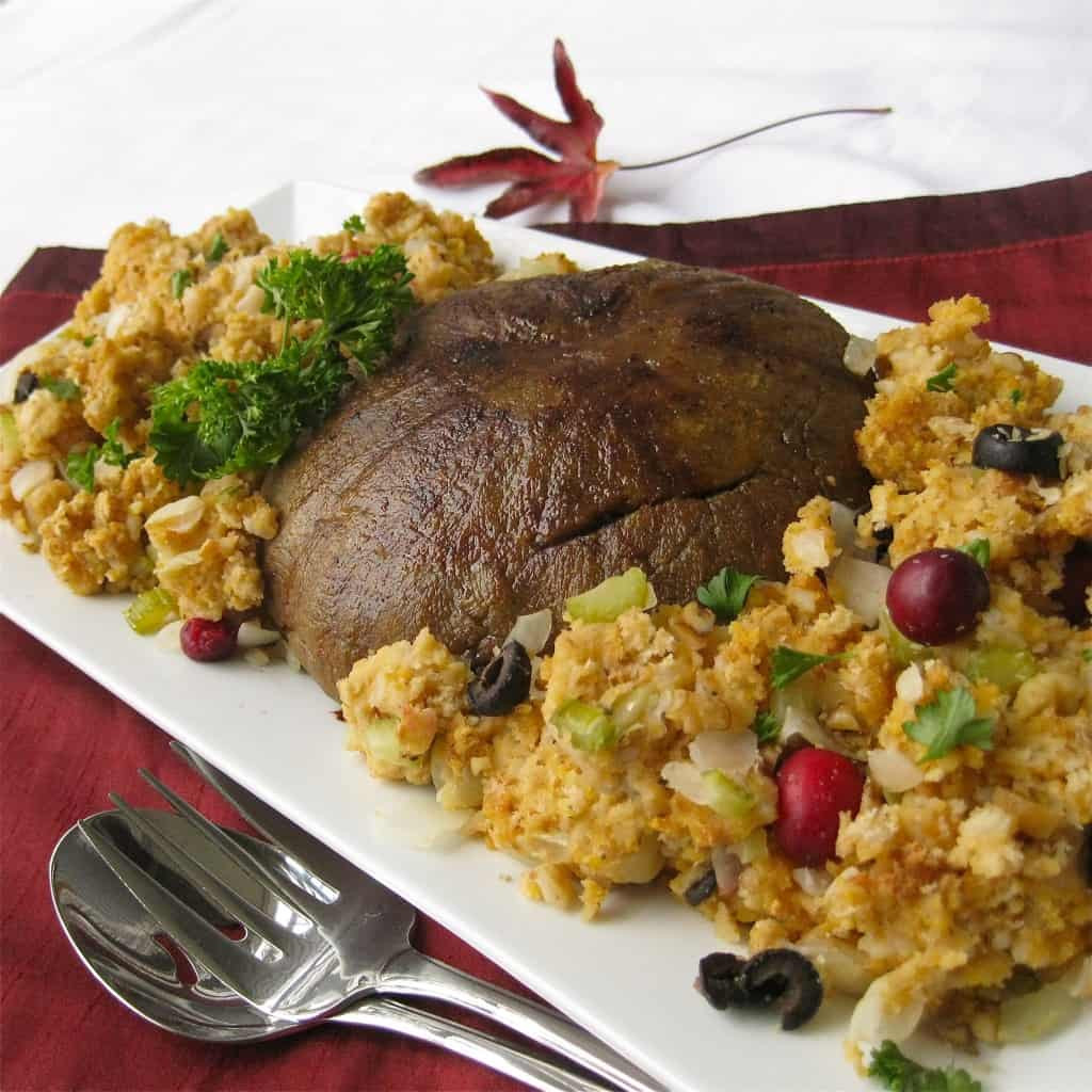 "Vegan Thanksgiving Dinner  Vegan ""Turkey"" Roast with Stuffing Vegan Yumminess"