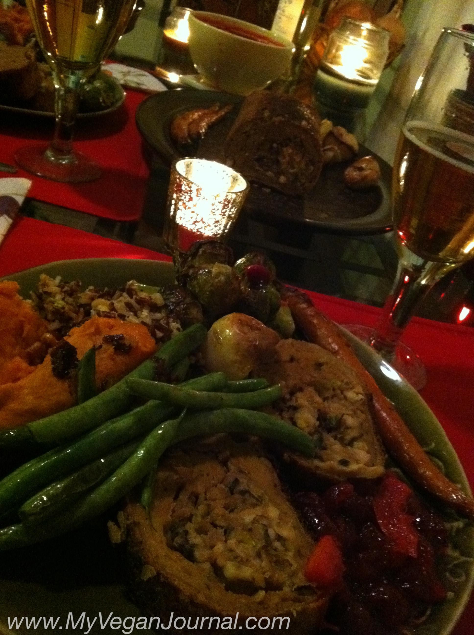 Vegan Thanksgiving Dinner  I made a Vegan Seitan Roast from scratch for the very 1st