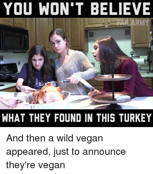 Vegan Thanksgiving Meme  Funny Turkey Memes of 2017 on SIZZLE