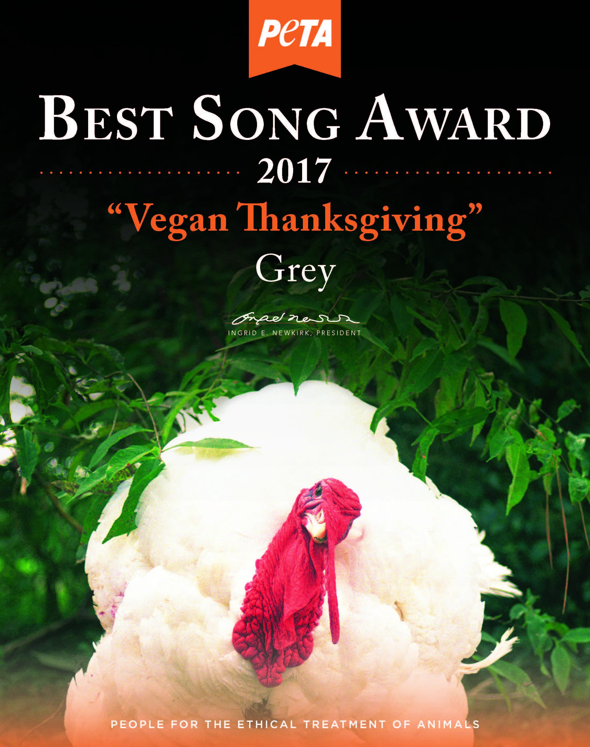 Vegan Thanksgiving Song  Grey Celebrates Vegan Thanksgiving at Sublime With PETA