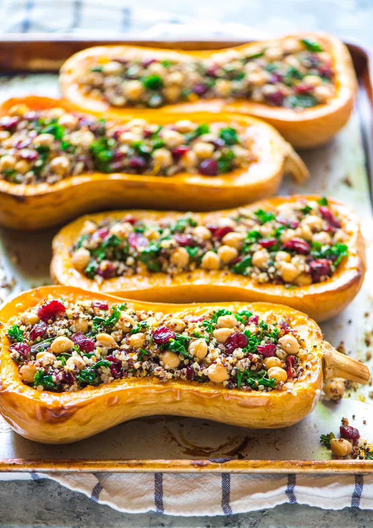 Vegetarian Fall Dinner Recipes  Quinoa Stuffed Butternut Squash with Cranberries and Kale